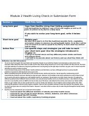 Module 2 Health Living Check-in Form