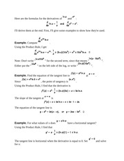 Logarithmic and Expontential Derivatives and How to Do them Notes