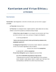 PHI2396 - Notes on kantianism and virtue ethics
