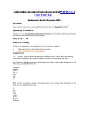 Introduction to Programming - CS201 Summer 2007 Assignment 03