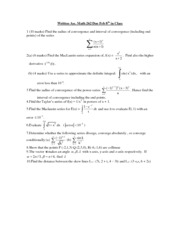 Math 262- Assignment (like midterm) 2010