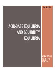 Acid Base solubility equilibria (Part III)(Mar 4)