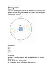 quiz 2 astronomy - quiz2astronomy question1   thecelestialequator selectone  a a b b c c d d question2 selectone a