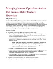 Managing Internal Operations Actions that Promote Better Strategy Execution