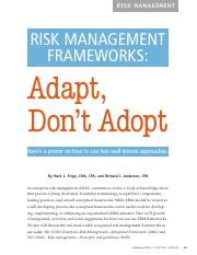 Risk Management frameworks adapt, don't adopt 2014(1)
