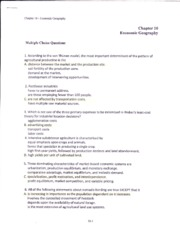 Geog - CHAPT 10 REVIEW QUESTIONS and ANSWERS