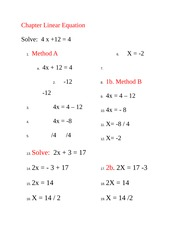 Chapter Linear Equation Class Note