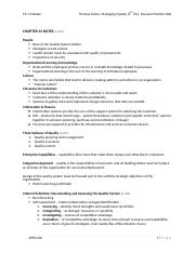 Ch 15 Notes - Managing Quality 5th ed.