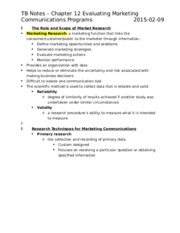 TB Notes – Chapter 12 Evaluating Marketing Communications Programs.docx