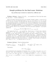 Sample Final Exam Solution on Advanced Calculus 1