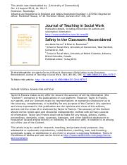 Lab - Garran & Rasmussen - Safety in the Classroom