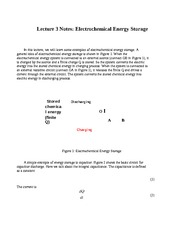 Lecture 3 Notes Electrochemical Energy Storage