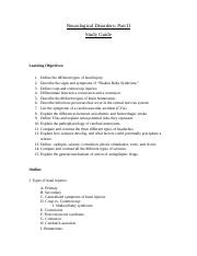 Neurologic Disorders Part II Study Guide.doc