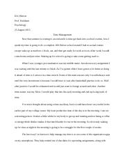 Eric Watson time management paper
