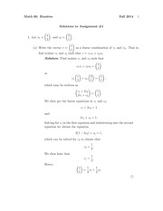 MATH 60 Fall 2014 Assignment 1 Solutions