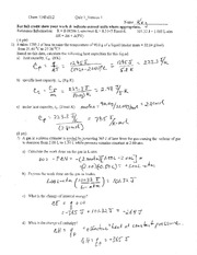 CHEM 114 - Quiz 1 with Answers