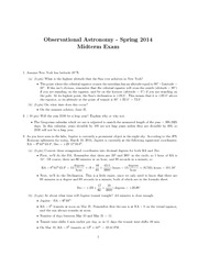 Observational Astronomy Midterm Exam