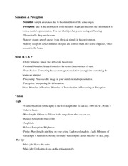 Sensation and Perception Notes6