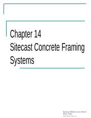 Chapter 14 Sitecast Concrete Framing Systems