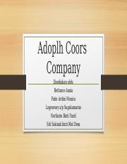 Adoplh Coors  Company.ppt