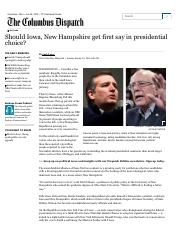 Jack Torry-Should Iowa, New Hampshire get first say in presidential choice_-January 24 2016