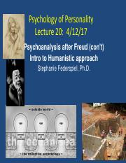 Copy Lecture 20 Neofreudians and Intro to Humanistic