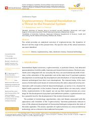 31 - Cryptocurrency: Financial Revolution or a Threat to the Financial System.pdf