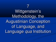 7 Wittgenstein's methodology ...