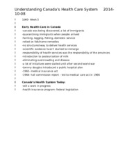 Nursing 1060 Understanding Canada's Health Care System