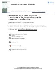 4 Older Adults use of smart phones An investigation of the factors influencing the acceptance of new