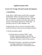 Foreign Aid Notes