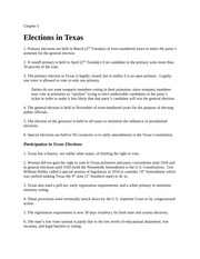 Lecture Notes Ch 5 Elections in Texas
