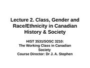 Lecture 2 Class, Gender and RaceEthnicity in Canadian Society
