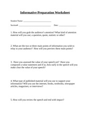 informative speech preparation worksheet 3 have you assessed the value of your speech yet have. Black Bedroom Furniture Sets. Home Design Ideas
