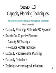 10 Lect14 Capacity Planning Techniques.ppt
