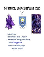 CRYSTALLINE SOLID L1
