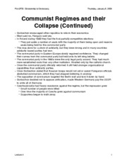 Communist Regimes and their Collapse (Cont'd)
