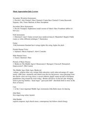 music appreciation quiz 2 review rh coursehero com Music Appreciation Flyers Music Notes