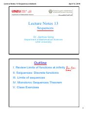 Lecture Notes 13 Sequences