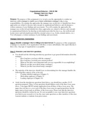 ORGB300 Manager Interview Paper Instructions - Winter 2013