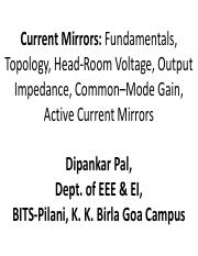 Current_Mirrors, Op_Amp (Topic-4)