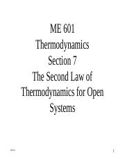 ME 601-Section 7 - The Second Law for Open Systems.ppt