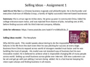 Selling Ideas – Assignment 1