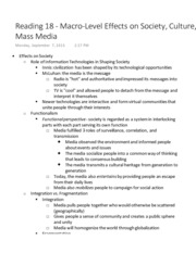 Reading 18 - Macro-Level Effects on Society, Culture, & Mass Media