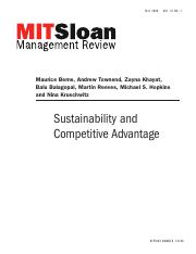 Berns et al (2009) Sustainability and comp advantage