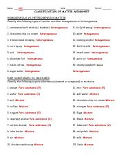 Chemistry classifying matter worksheet answer key
