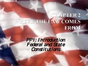 Ch2 PP1 Where Law Comes From (Constitutions) (2.15.08)