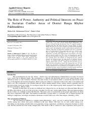The Role of Power, Authority and Political Interests on Peace in Sectarian Conflict Areas of .pdf