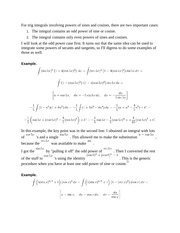 Integrating Trig Functions Notes