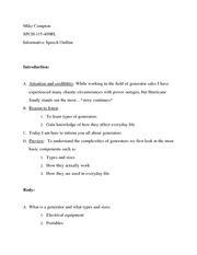 Informative Speech - OUTLINE on Informing Notes